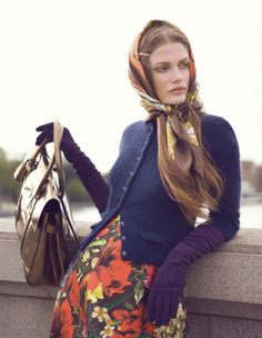 Love the photography in this editorial for Bon magazine. Has an old fashioned look to the pictures, but timeless in appeal. sylvia mann photographed by stefan zschernitz & styled by marcus soder xx debra via mode Head Scarf Tying, Looks Street Style, Russian Fashion, Russian Style, Vintage Scarf, Girl Fashion, Womens Fashion, Style Fashion, Mode Vintage