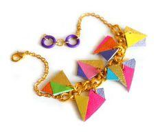 Photo of Neon Leather Charm Bracelet, Geometric Jewelry, Chunky Chain Triangle Kaleidoscope