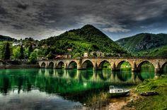 Mehmed Pasa Sokolovic Bridge in Visegrad, Bosnia and Herzegovina. Characteristic of 16th century Ottoman monumental architecture and civil engineering.