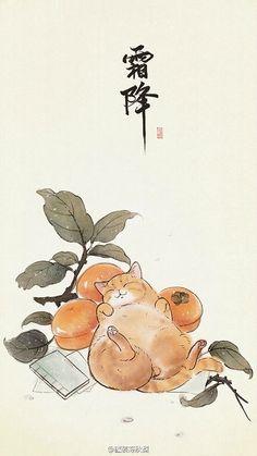 Милый кот рисунок обои на рабочий стол японская рисовка