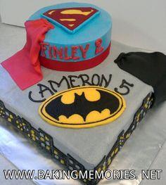 Superman/Batman cake, buttercream transfers www.bakingmemories.net