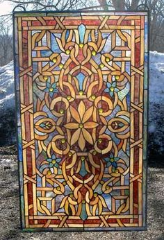 Art Deco Stained Glass Windows | Art Deco Rich Royal Stained Glass Window