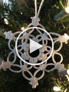 This is a macramé snowflake ornament made from 2mm durable white polyolefin macrame cord. It measures approx. 4 from point to point.  Hang on christmas trees or just around the house. I will ship next business day.  $1.00 USPS parcel post only in the United States. Free Shipping Diy Christmas Videos, Christmas Diy, Snowflake Ornaments, Snowflakes, Christmas Trees, Christmas Ornaments, Macrame Cord, How To Make Ornaments, United States
