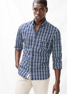 Camisa slim-fit cuadros bolsillos Formal Casual, Men Casual, Rich Man, Tartan, Mango, Button Down Shirt, Shirt Dress, Mens Tops, Shirts
