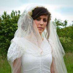 1930s Vintage Wedding, Wax Flower Tiara, Veil and Wedding Dress