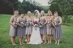 muted purple / grey bridesmaids dresses ! HELLO only my absolute dream wedding party attire!!