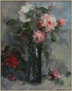 Th. van Oorschot rozen in vaas