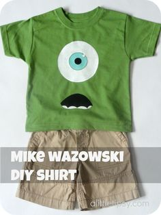 DIY Monsters Inc Mike Wazowski Shirt, Gotta make Emmitt one, just need to get a plain green shirt! And then he can wear it when we got see it in theaters!