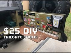 This is my solution to a tailgate table. Current tailgate tables are selling online for hundreds of dollar. Jeep Wrangler Tj, Jeep Jku, Cj Jeep, Jeep Mods, Jeep Wrangler Unlimited, Truck Mods, Camping Diy, Jeep Camping, Jeep Wrangler Accessories