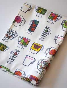 vintage mugs   tea towel  linencotton  kitchen by KatherineCodega, $18.00