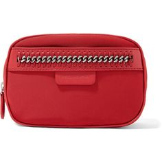 Stella McCartney The Falabella chain and faux leather-trimmed shell... (850 BRL) ❤ liked on Polyvore featuring beauty products, beauty accessories, bags & cases, red, toiletry bag, make up bag, dop kit, makeup purse and wash bag