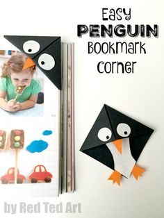 Easy Penguin Bookmark Corner - These penguin bookmarks are so quick and easy to make and are a great beginners origami project!