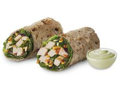 Grilled Chicken Cool Wrap with 15 grams of fiber in the flaxseed wrap AND 36 grams  of protein in less than 350 calories!