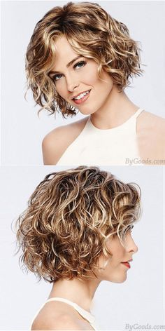 Fashion Brown Short Roll Mixed Fluffy COS Headgear Wave Ladies Hair Wig - Lilly is Love Curly Hair Cuts, Short Hair Cuts, Curly Hair Styles, Ladies Hair Styles, Short Hair With Perm, Layered Curly Hair, Short Wavy Hair, Short Curly Hairstyles For Women, Curly Bob Hairstyles