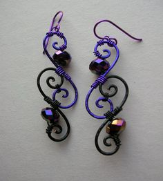 Purple/Black Spiral Earrings -- Swirl Wire Wrapped Filigree Earrings, Rainbow Purple Faceted Rondelle Beads, Purple Anodized Niobium Wires