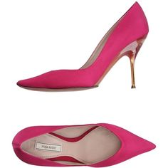 Nina Ricci Court ($435) ❤ liked on Polyvore featuring shoes, pumps, fuchsia, leather sole shoes, animal pump, fuschia shoes, nina ricci shoes and fuchsia shoes