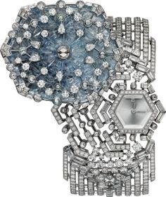 CARTIER High Jewelry watch Quartz movement, 18K white gold, sapphire, diamonds