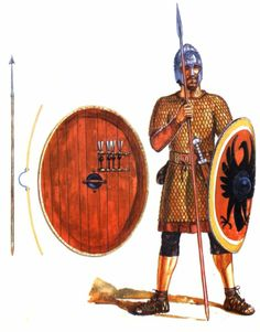 Legionary, late III Century AD. It is likely that a soldier of this period would have worn boots and longer trousers rather than braccae and caligae.