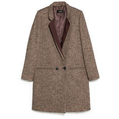 Flecked Wool-Blend Coat (€70) ❤ liked on Polyvore featuring outerwear, coats, jackets, coats & jackets, brown coat, mango coat, long sleeve coat, wool blend coat and fur-lined coats