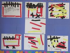 art with tape. provide a fire truck tutorial and let the kids make their own!