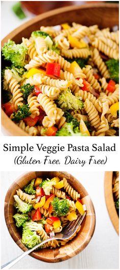 Simple Veggie Pasta Salad (Gluten Free, Dairy Free, Vegan) recipes juice plus Dairy Free Salads, Dairy Free Snacks, Dairy Free Diet, Gluten Free Pasta, Pasta Recipes Dairy Free, Gluten Free Lunches, Dairy Free Dinners, Gluten Dairy Free, Dairy Free Appetizers