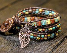 Boho Wrap Bracelet Leather Wrap Bracelet for Women Chunky Bracelet Boho jewelry Beaded Bracelet Women Bohemian Bracelet Сolorful jewelry
