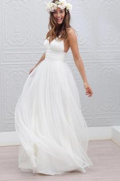 Simple V-neck Floor-Length Wedding Dress With Ruched Sash-Pgmdress