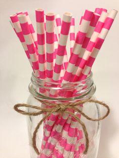 25 Pink Stripes paper straws // baby bridal shower by TamsCorner, $6.19