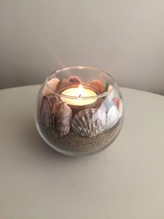 Beach Candle Holder/ Nautical Candle Holder/ Sand Decor/ Sea Shell Candle Holder/ Coastal Candle Holder/ Ocean Decor/ Nautical Decor by SerayDesign on Etsy https://www.etsy.com/listing/464648078/beach-candle-holder-nautical-candle