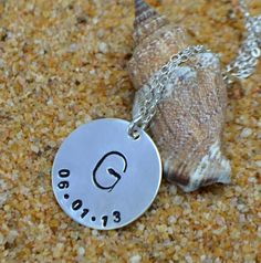 Sterling Silver Initial and Date Charm Necklace by SeaSaltShop, $23.00