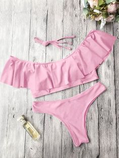 Ruffles Off Shoulder Bathing Suit - Pink