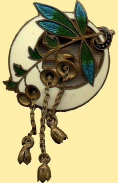 Pierced enamel button with chains (British Button Society)