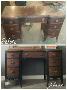 """Before and After of this 1940's mahogany desk Drawers and top stripped and re-stained, base painted in Benjamin Moore """"black"""" and distressed Www.facebook.com/rechicpaintedfurniture"""