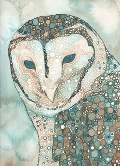 Masked Owl (Australian) 4 x 6 print of hand painted detailed watercolour artwork in whimsical turquoise blue green brown earth tones. $5.00, via Etsy.