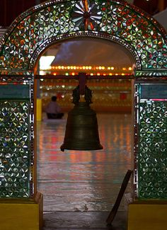 Doorway to meditation hall...with bell. Photo by taunggyilady