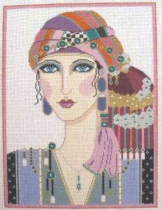 Tantari is a vintage inspired needlepoint canvas design by Sophia Designs available from the Needle Nook of La Jolla.