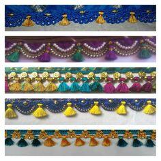 tassels for saree Saree Tassels Designs, Saree Kuchu Designs, Thread Crochet, Crochet Lace, Lace Design, Fabric Design, Beading Patterns, Crochet Patterns, Saree With Belt