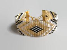 Bracelet Femme Tissé Blanc Doré et Noir : Bracelet par emma-shop