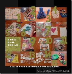 TONS TONS TONS of Busy bag ideas for toddlers, preschoolers and older kids.