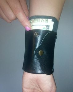 Woman Black Wallet Wrist Wallet for Womans Wrist by Homespirits