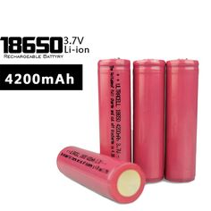 100% High Quality 4 pcs 18650 Battery 3.7V 4200mAh Rechargeable li-ion battery for Led flashlight battery 18650 lithium battery