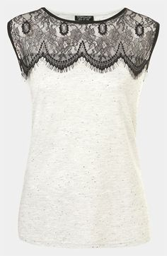 "Topshop Lace Yoke Tank available at Nordstrom for $32. Copy of the Milly top that Robin wore on How I Met Your Mother ""The Ashtray"" episode."