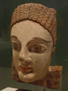 Head from an Antefix (Architectural element) Etruscan 500 BCE Terracotta