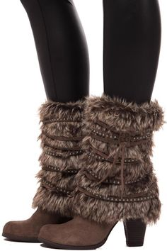 Lime Lush Boutique - Taupe Faux Fur Boot with Studded Strap Detail, $129.99 (http://www.limelush.com/taupe-faux-fur-boot-with-studded-strap-detail/)
