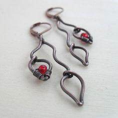 Wire Wrapped Copper Dangle Earrings Leaf Earring Earings Unique Artisan Nature Jewelry Handmade Jewlery Lightweight OOAK Leverback