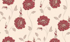 Scarlet Rose (M0456) - Vymura Wallpapers - Large voluptuous blooms in red on a pale grey trail against warm beige background. Available in other colours. Please ask for sample for true colour match.