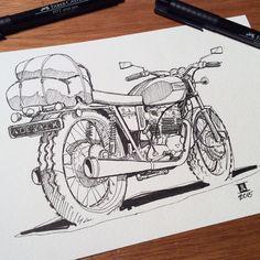 Source: downshiftstudio Motorcycle Art, Bike Art, Bike Sketch, Bike Drawing, Motorbike Design, Bike Illustration, Bike Poster, Car Drawings, Pen Art