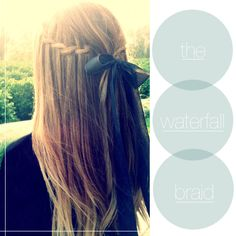 waterfall braid with a bow