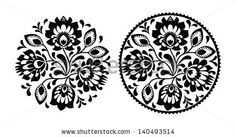 Folk embroidery with flowers - traditional polish round pattern in monochrome by RedKoala, via Shutterstock
