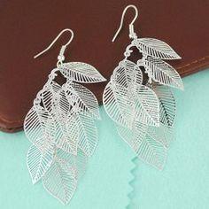 Simple Style Multi-Layered Leaves Design Openwork Women's Earrings